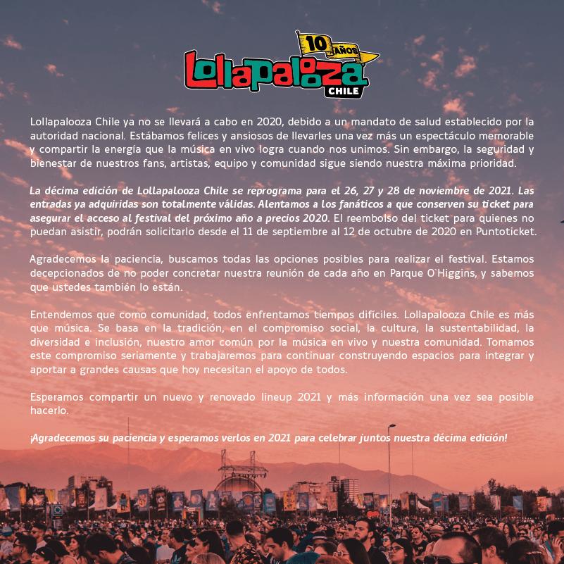 Cancelación y postergación Lollapalooza cl